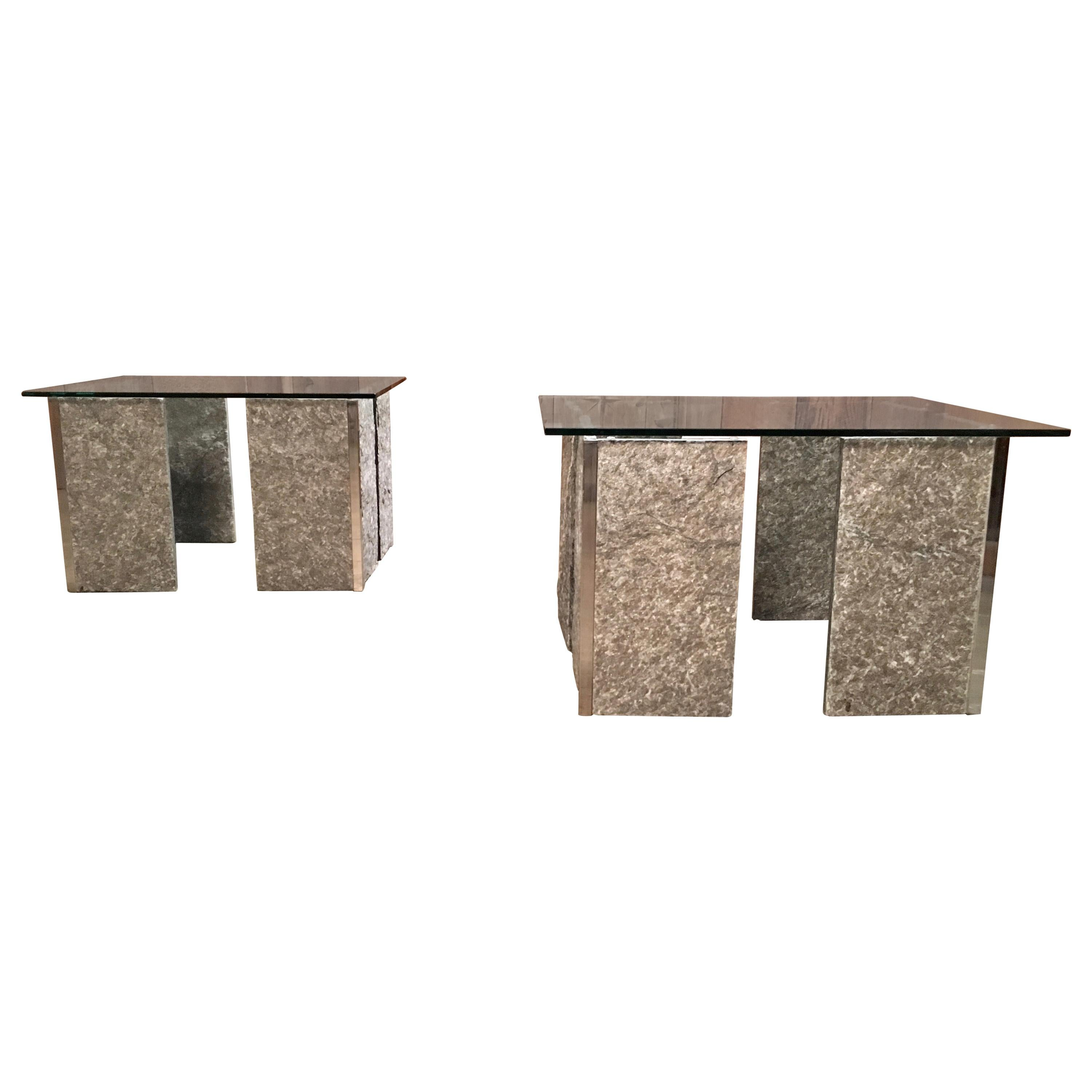 1970s Granite and Chrome End Tables