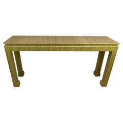 1970s GrassCloth Parsons Console Table in the Style of Karl Springer