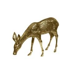 1970s Grazing Brass Deer