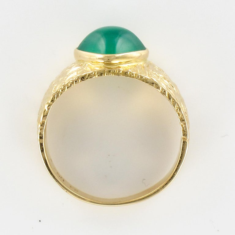 1970s Green Agate 18 Karat Yellow Gold Bangle Ring For Sale 9