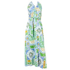 1970s Green and Blue Cotton Printed Sun Dress
