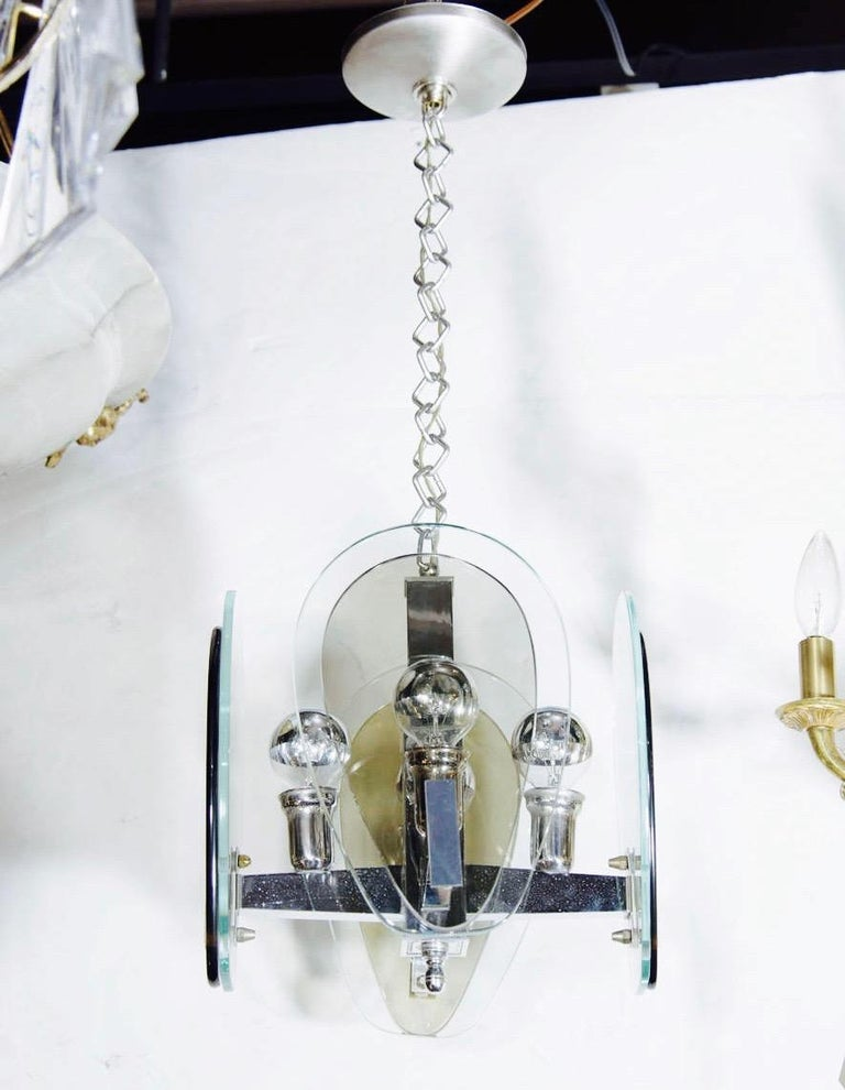 Hand-Crafted 1970's Green and Smoked Glass Pendant Light in the Style of Fontana Arte, Italy For Sale