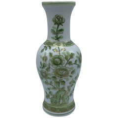 1970s Green and White Peony Motif Chinoiserie Vase