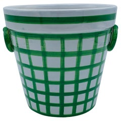 1970s Green and White Plaid Basket Cachepot Planter