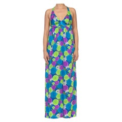 1970S Green, Blue & Purple Floral Poppy Print Maxi Halter Dress