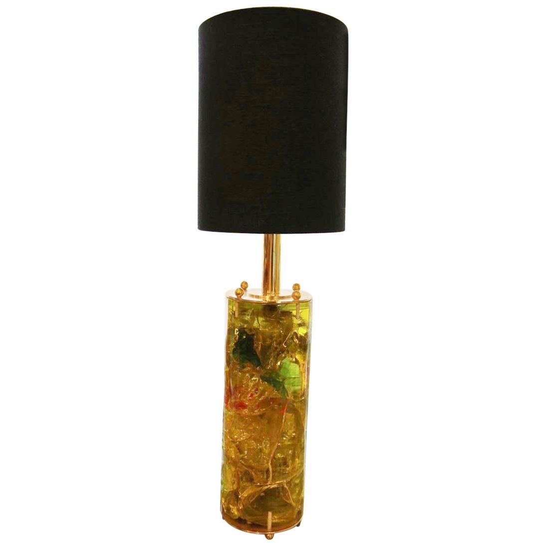 Fractal Resin Table Lamp, Brass Plate,Marie-Claude de Fouquières,Pierrre Giraudo