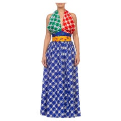 1970S Green Red Blue & Yellow Polyester Backless Halter Neck Gown With Waistlin