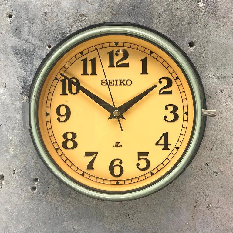 Japanese 1970s Green Retro Seiko Vintage Industrial Antique Steel Quartz Wall Clock For Sale