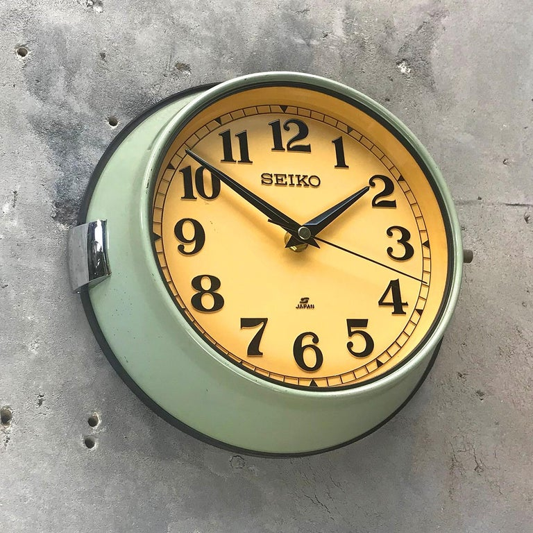 Cast 1970s Green Retro Seiko Vintage Industrial Antique Steel Quartz Wall Clock For Sale