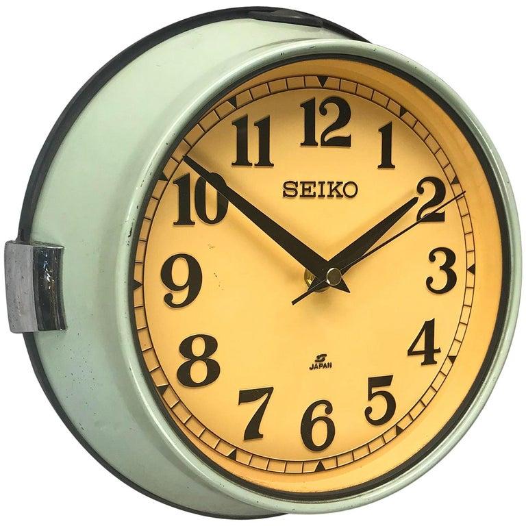 1970s Green Retro Seiko Vintage Industrial Antique Steel Quartz Wall Clock For Sale