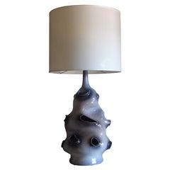 1970s Grey Ceramic Table Lamp, France