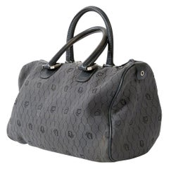 1970s Grey Christian Dior Cotton logo Speedy  Bag