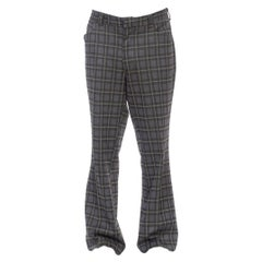 1970S Grey & Green Plaid Polyester Double Knit Men's Pants