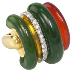 1970s Gubelin Carnelian, Nephrite, Diamond and Gold Ring