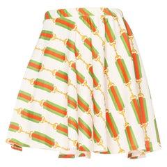 1970S JANTZEN Polyester Gucci Belt Status Print Tennis Mini Skirt With Elastic