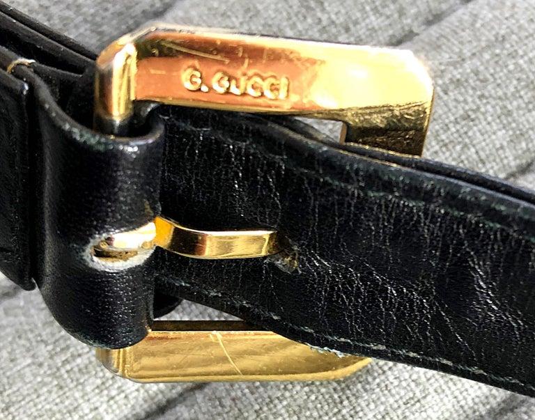1970s Gucci Black Suede Tiger Clasp Large Vintage 70s Handbag Purse Shoudler Bag For Sale 3