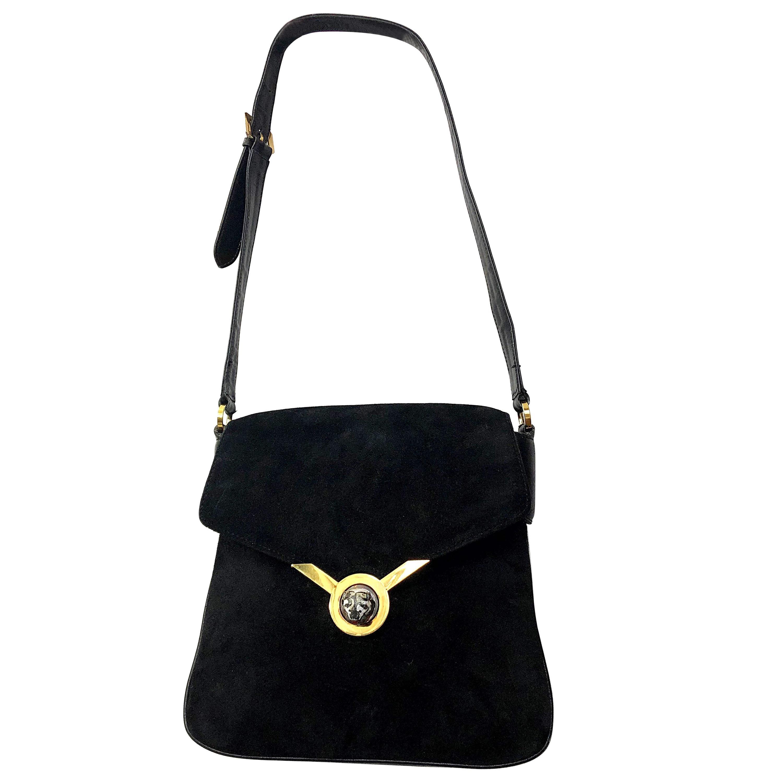 1970s Gucci Black Suede Tiger Clasp Large Vintage 70s Handbag Purse Shoudler Bag