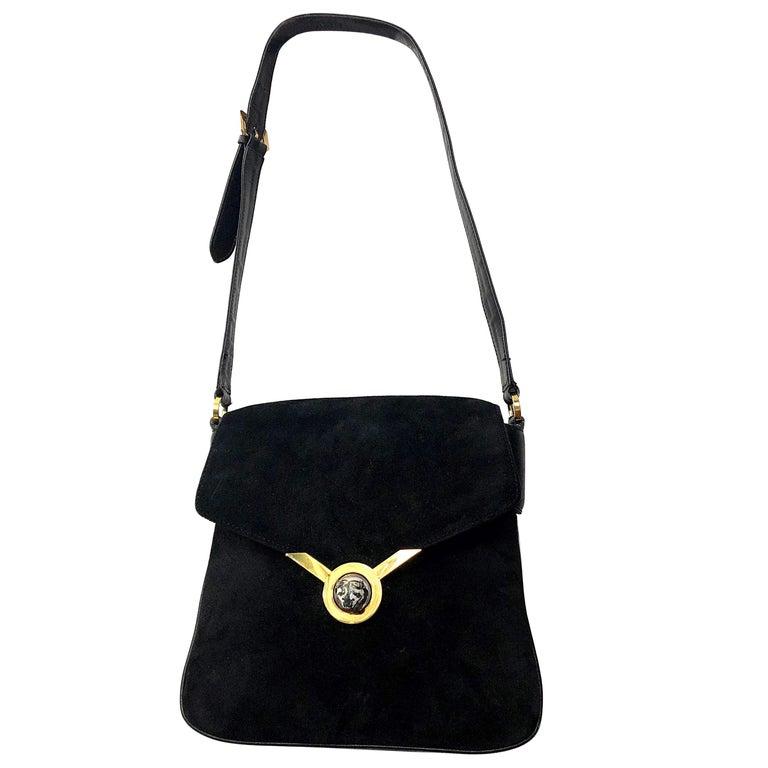 1970s Gucci Black Suede Tiger Clasp Large Vintage 70s Handbag Purse Shoudler Bag For Sale