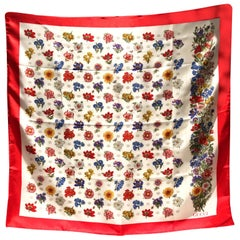 1970s Gucci blooms print red edge silk scarf