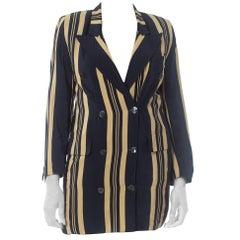 1970S Gucci Blue & White Silk Crepe De Chine Nautical Summer Striped Blazer Wit
