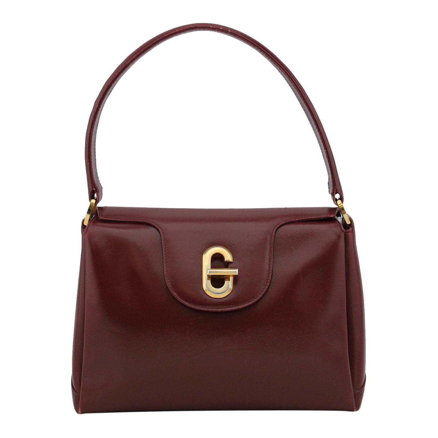1970s Gucci Bordeaux Leather Top Handle Bag