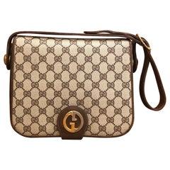 1970s GUCCI Brown Monogram Canvas Box Shoulder Bag