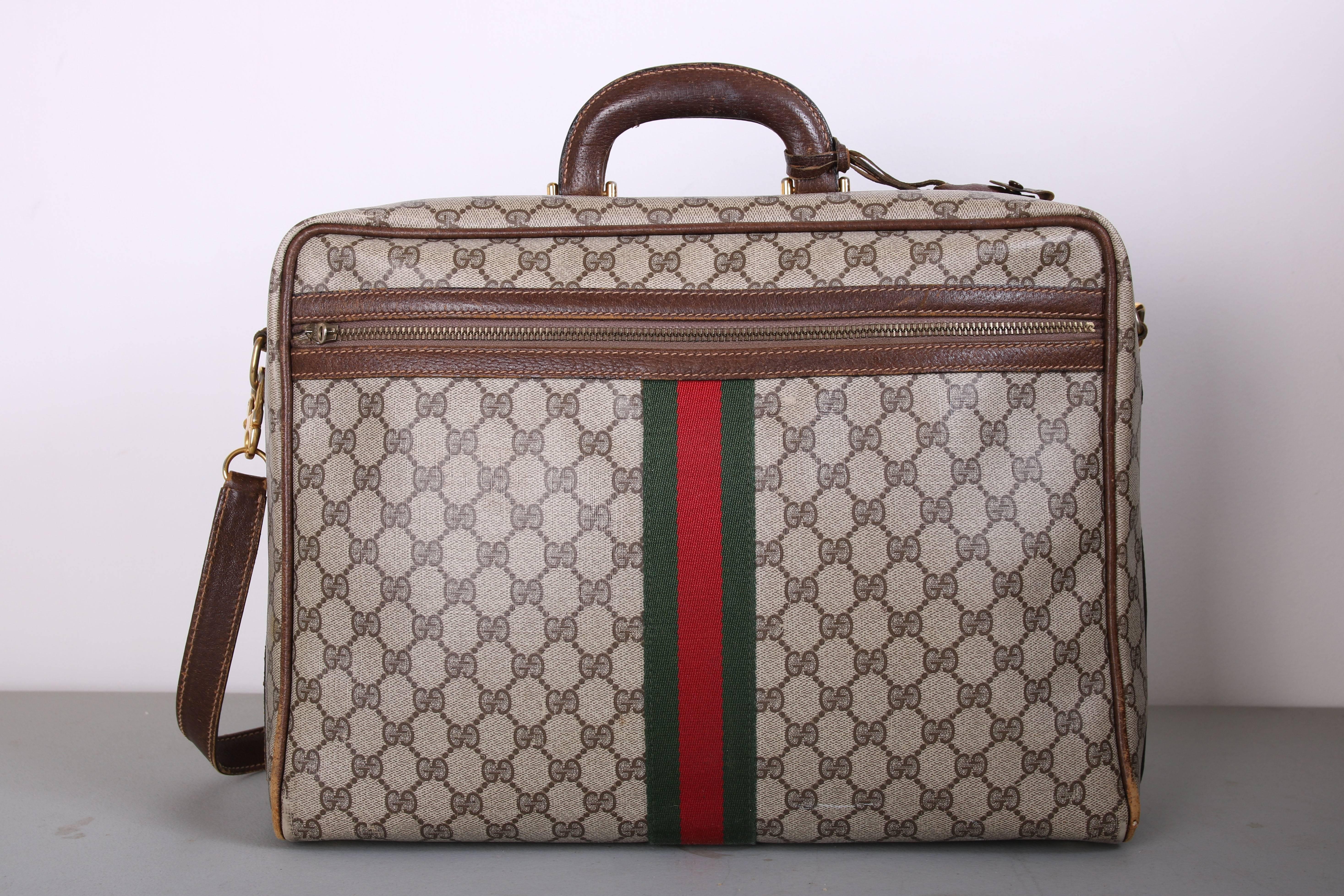 Gucci 1970s Gucci Canvas & Leather Travel Bag W/gg Diamond Web, Top Handle & Strap &