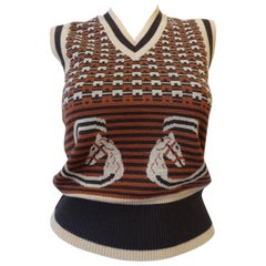 1970s Gucci Equestrian Logo Wool Sweater Vest