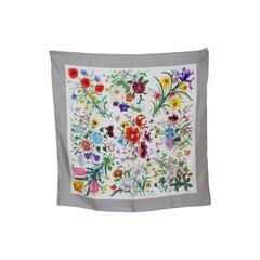 1970s Gucci Flora Accornero Multicolor Gray Silk Floral Scarves