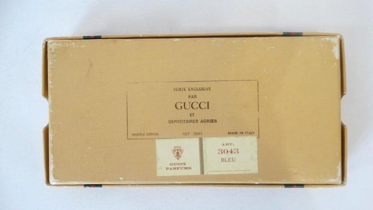Black 1970s Gucci Gold & Navy Blue Enamel Mini Perfume Bottle For Sale