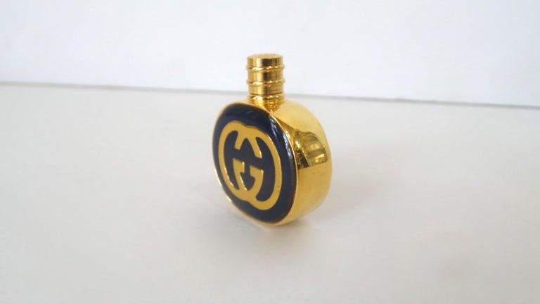 1970s Gucci Gold & Navy Blue Enamel Mini Perfume Bottle In Good Condition For Sale In Scottsdale, AZ
