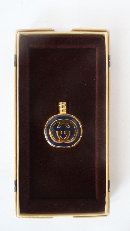 1970s Gucci Gold & Navy Blue Enamel Mini Perfume Bottle For Sale 1