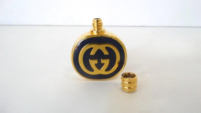 1970s Gucci Gold & Navy Blue Enamel Mini Perfume Bottle For Sale 2