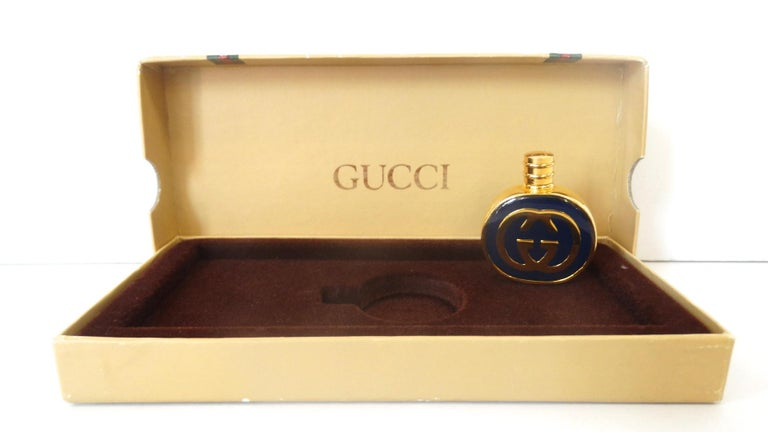1970s Gucci Gold & Navy Blue Enamel Mini Perfume Bottle For Sale 3
