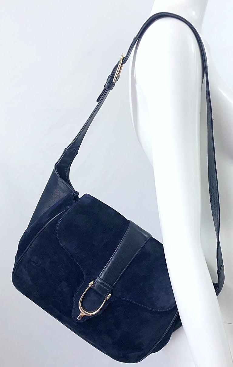 1970s Gucci Large Navy Blue Suede Vintage 70s Hobo Shoulder Bag Purse Handbag 6