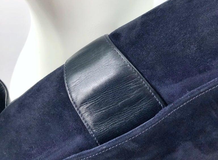 1970s Gucci Large Navy Blue Suede Vintage 70s Hobo Shoulder Bag Purse Handbag 7