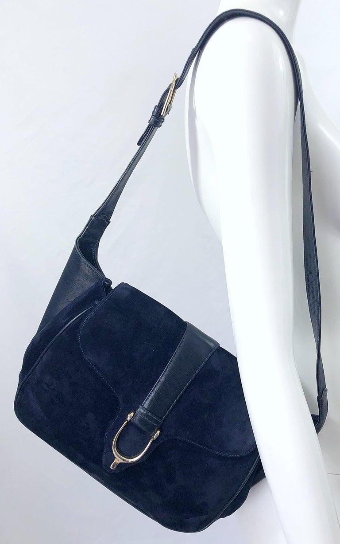 1970s Gucci Large Navy Blue Suede Vintage 70s Hobo Shoulder Bag Purse Handbag 8