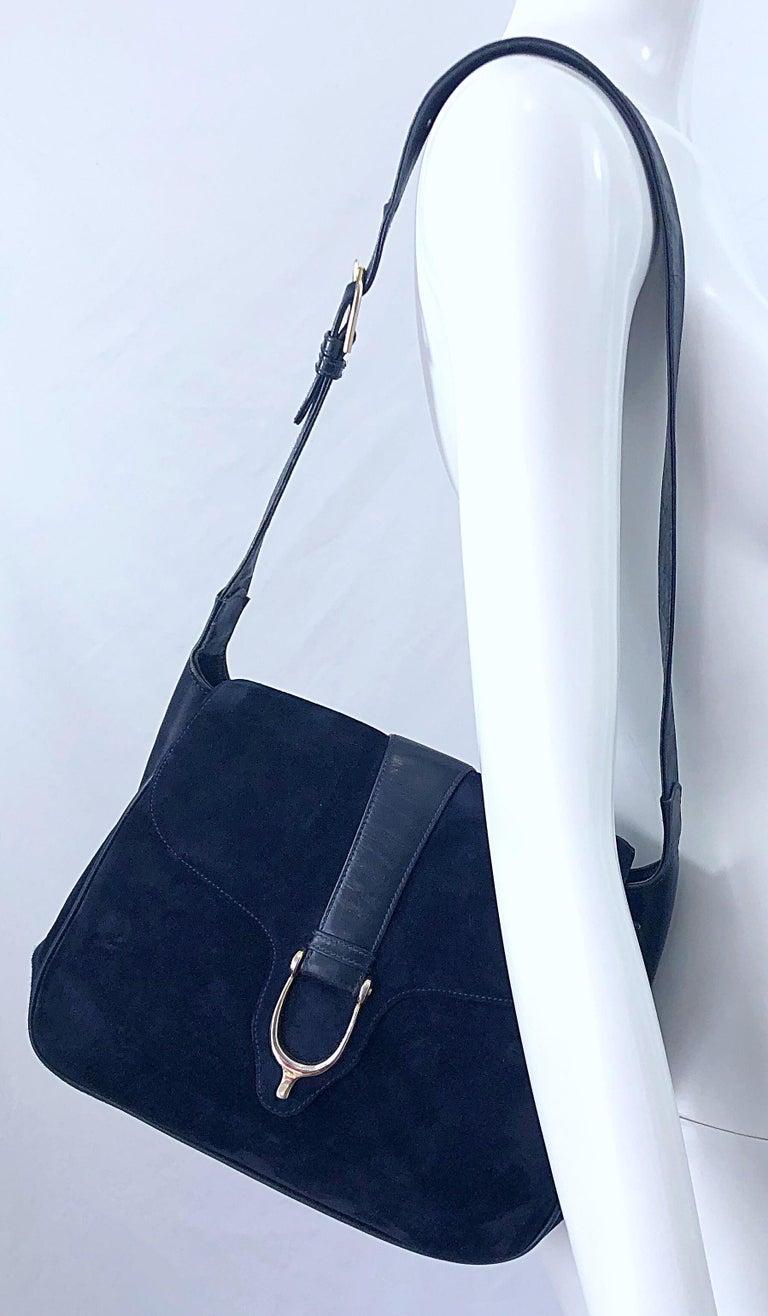 1970s Gucci Large Navy Blue Suede Vintage 70s Hobo Shoulder Bag Purse Handbag 9
