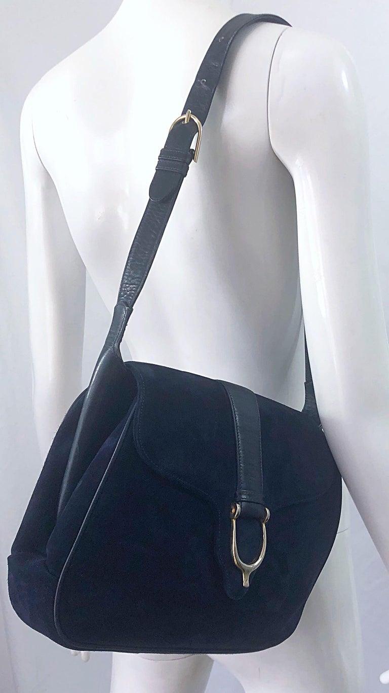 1970s Gucci Large Navy Blue Suede Vintage 70s Hobo Shoulder Bag Purse Handbag 11