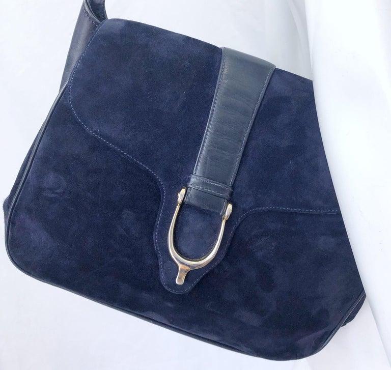 1970s Gucci Large Navy Blue Suede Vintage 70s Hobo Shoulder Bag Purse Handbag 2