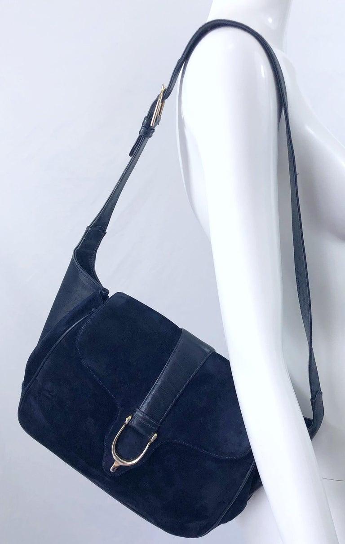 1970s Gucci Large Navy Blue Suede Vintage 70s Hobo Shoulder Bag Purse Handbag 3