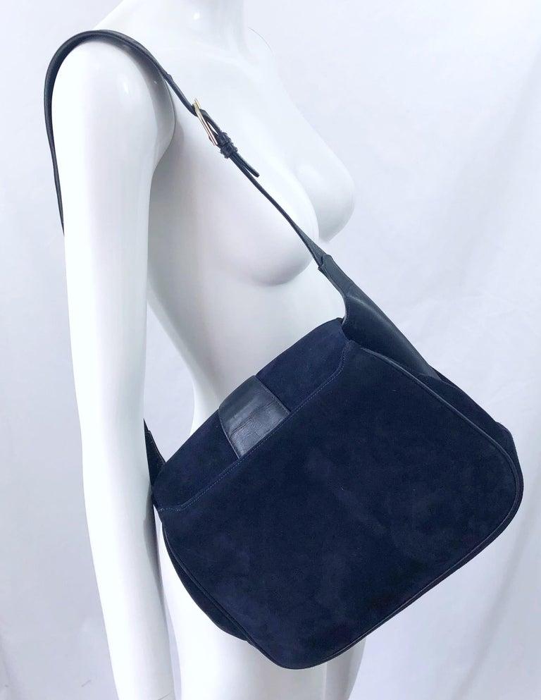 1970s Gucci Large Navy Blue Suede Vintage 70s Hobo Shoulder Bag Purse Handbag 4