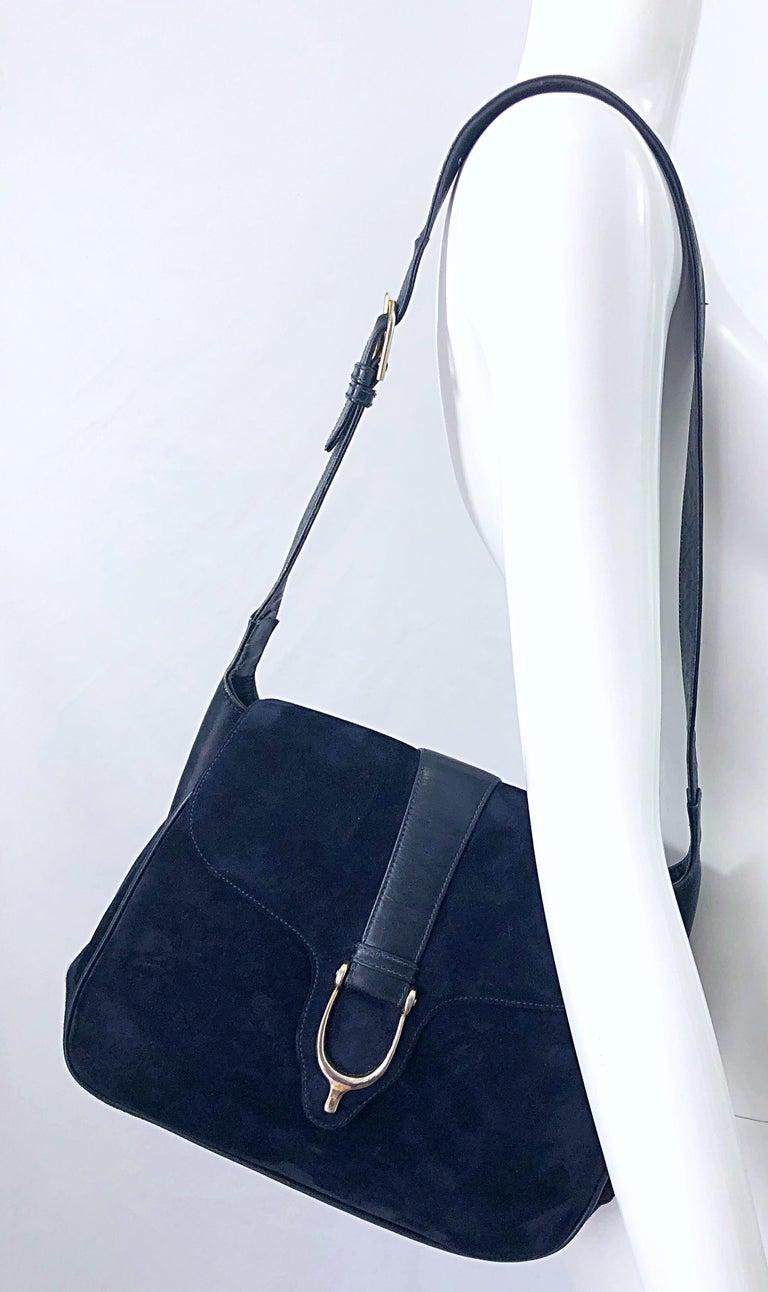 1970s Gucci Large Navy Blue Suede Vintage 70s Hobo Shoulder Bag Purse Handbag 5