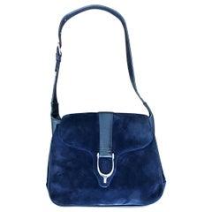 1970s Gucci Large Navy Blue Suede Vintage 70s Hobo Shoulder Bag Purse Handbag