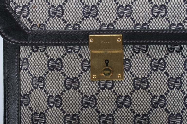 1970s Gucci Leather Attaché Briefcase with Blue GG Monogram For Sale 10