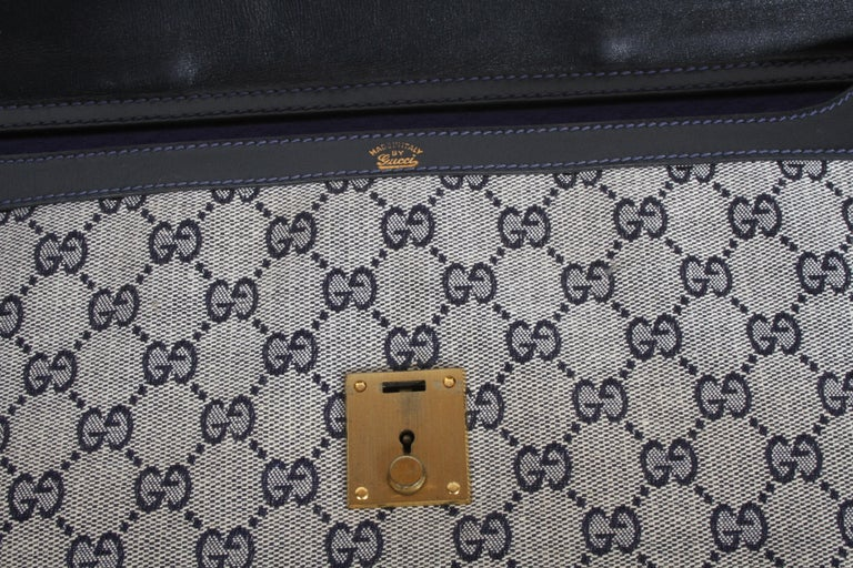 Late 20th Century 1970s Gucci Leather Attaché Briefcase with Blue GG Monogram For Sale