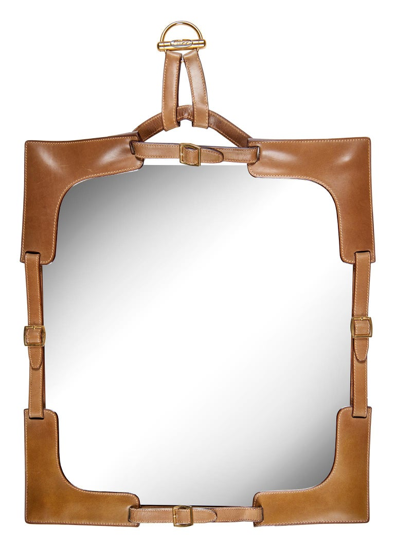 1970s Gucci Leather Framed Mirror For Sale 7