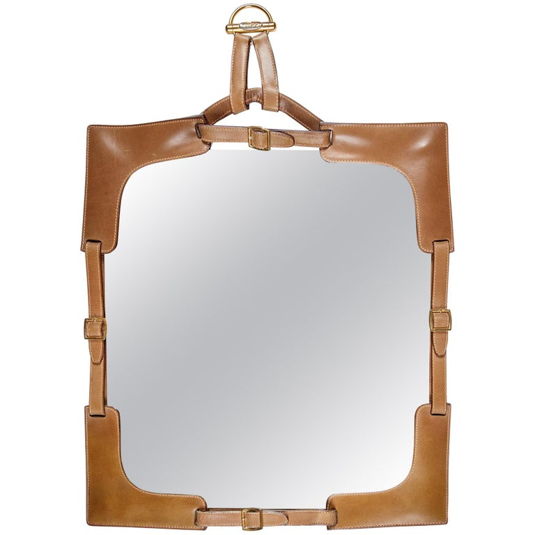 1970s Gucci Leather Framed Mirror For Sale