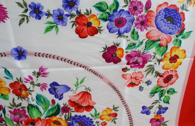 1970s Gucci Multi Floral Silk Scarf  For Sale 3