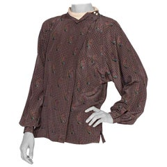 1970's Gucci Paisley Silk Blouse With Metallic Gold Print